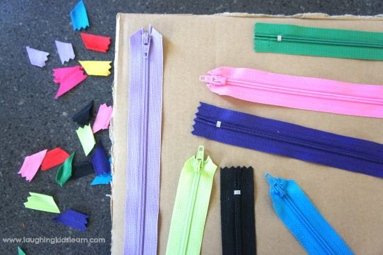 Here is a handmade DIY zipper board for kids, which is great for developing fine motor skills, independence and sensory awareness. Suitable for ages 1 to 5.
