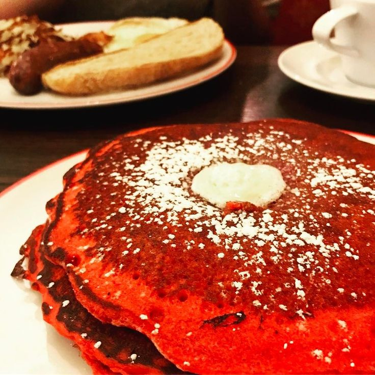 Are you Red-dy for this red velvet pancake!? . . . #redvelvet #red #brunch #breakfast #pancakes #maple #butter #pun #Rockville #Rockvillefood #Rockvillefoodie  #restaurant #citylife #Foodpics #foodporn  #instafood #dinner #foodbaby #instadaily #foodphotography #foodie #음식 #먹방 #디저트 #맛집 #먹스타그램