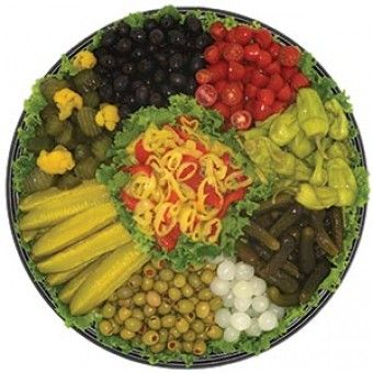 Relish Tray:  This tray is made with sweet pickles, dill pickle spears, black & green olives, cherry tomatoes, pepperoncinis, sweet gerkins, & roasted peppers. - See more at: https://www.partiesbymartins.com/relish-tray#sthash.6yzYUxGb.dpuf