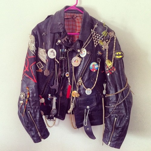 LEATHER PUNK JACKET with badges and chains