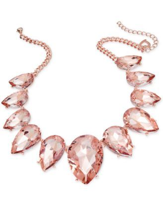 Thalia Sodi Rose Gold-Tone Pink Crystal Statement Necklace, Only at Macy's  | macys.com