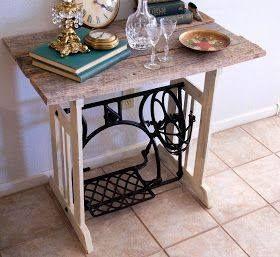 Mesa con pata de antigua maquina de coser manualidades reciclados y soluciones practicas - Mesa maquina coser singer ...