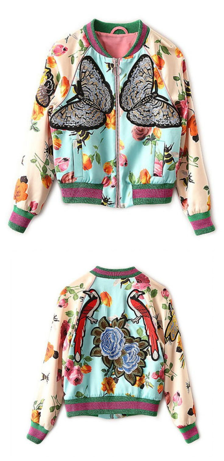 $69 - Butterfly Bomber Jacket is Now Available at Pasaboho *Embroidery and Floral Jacket exhibit brilliant colours with unique embroidered butterfly, flowers & birds. Fashion trend and styles from hippie chic, modern vintage, gypsy style, boho chic, hmong ethnic, street style, geometric and floral outfits. We Love boho style and embroidery stitches. Free Spirit hippie girls sharing woman outfit ideas. bohemian clothes, cute dresses and skirts.