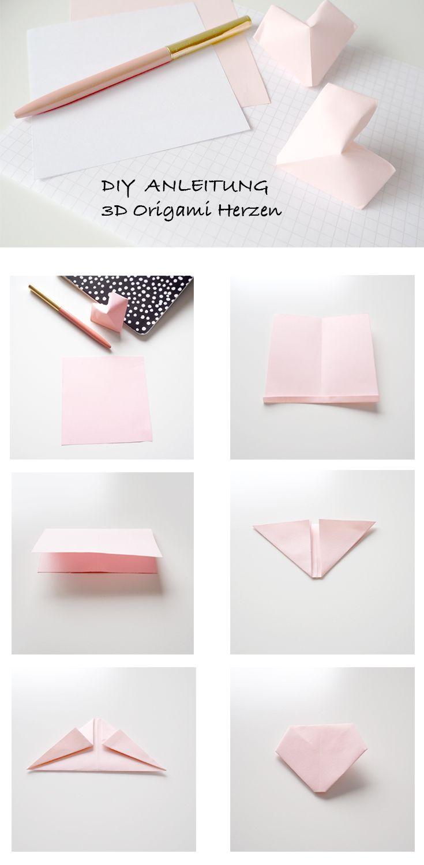 DIY-Anleitung: Kleine 3D Origami Herzen zum Selbermachen auf minuscule.de