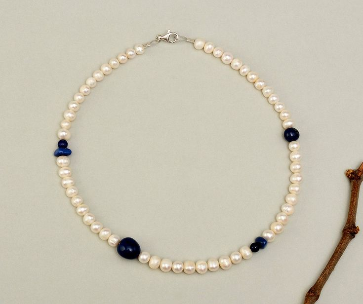 White pearl necklace, purity stone choker, lapis lazuli jewelry, navy white layer necklace, blue stone necklace, freshwater pearl necklace by ColorLatinoJewelry on Etsy