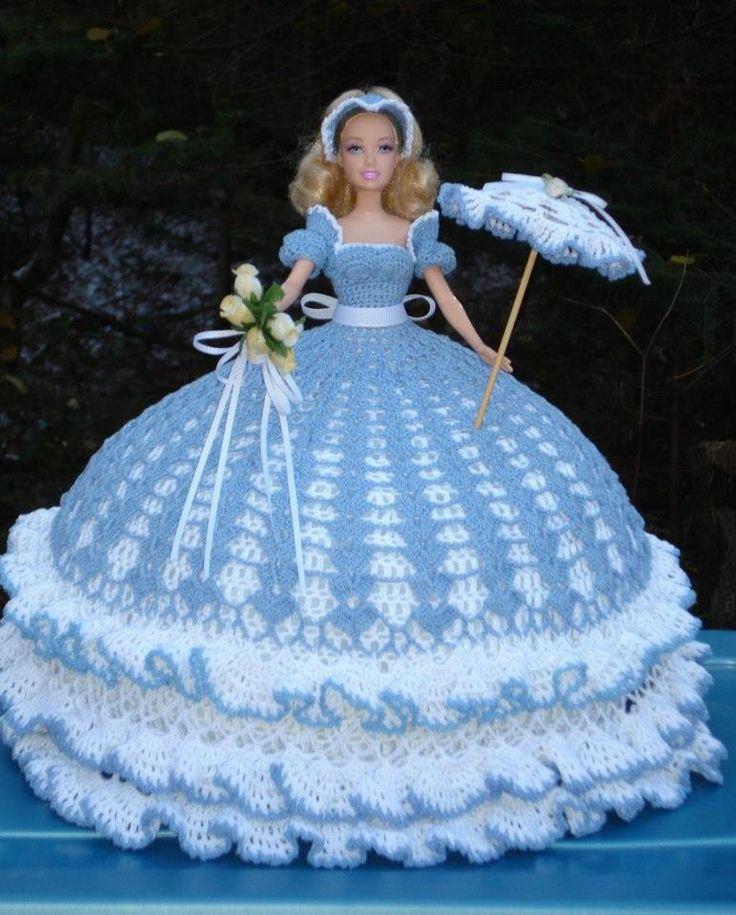 Barbie in crochet gown
