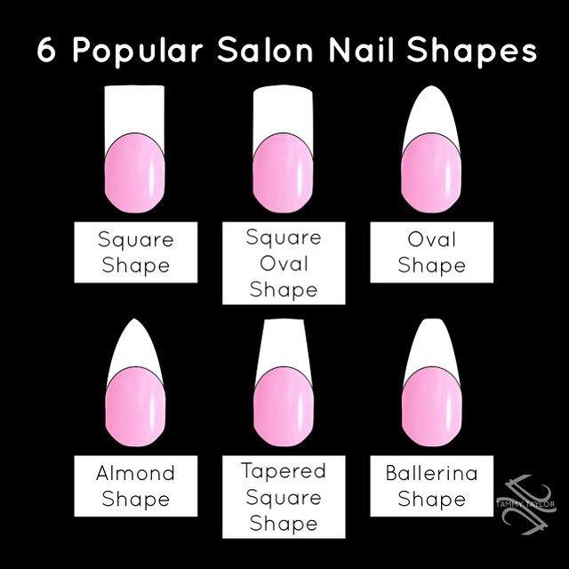 6 Popular Salon Nail Shapes by Tammy Taylor! tammytaylornails.com