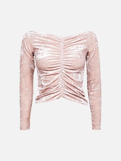 A long sleeved, boat neck top in velvet-like material. Gathering all the way down in front. Rosa