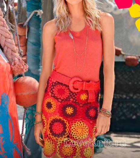 Цветная юбка-парео с рисунком из кругов схема крючком » Люблю Вязать