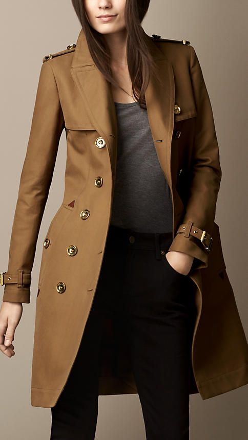 Long Bonded Cotton Trench Coat with Studded Undercollar | Burberry