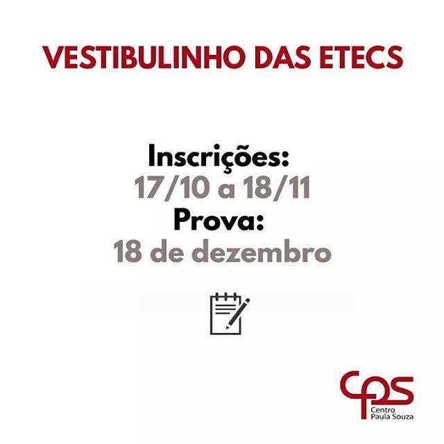 Bom dia!!! Vestibulinho Etec 1° Semestre/2017 Inscrições abertas!  ENSINO MÉDIO - ADMINISTRAÇÃO - EDIFICAÇÕES - TURISMO RECEPTIVO - SERVIÇOS JURÍDICOS Inscreva-se através do site www.vestibulinhoetec.com.br, ou na Secretaria da escola. Informações: (15) 3542-5514