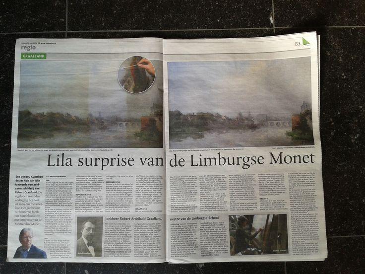 Krantenartikel over restauratie schilderij van Rob Graafland door Restauratie Atelier Driessen.