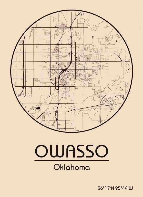Karte / Map ~ Owasso, Oklahoma - Vereinigte Staaten von Amerika / United States of America / USA