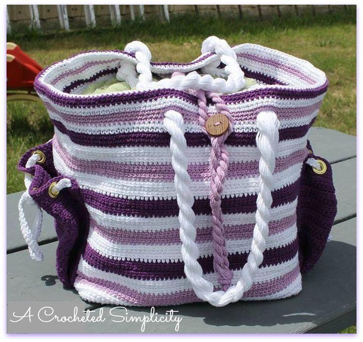 """Nautical Knots"" Beach Bag Set by A Crocheted Simplicity  #handmade #crochetpattern #nautical"
