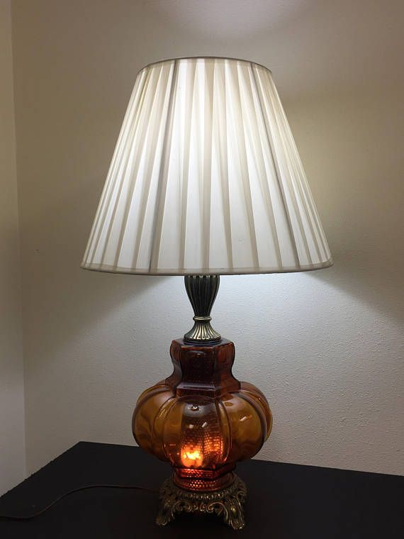 1970s Vintage Table Lamp With Cast Antique Brass Metal Base Amber Brown Molded Glass Base With Diffuser And Night Light 3 Wa Vintage Table Lamp Lamp Table Lamp