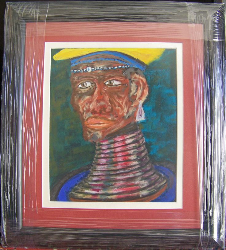 This lady is from my Ndebele range. She is done with soft pastels on sandpaper. The sandpaper holds the pastel particles better and allows for more freedom in drawing since you don't have to overwork your picture to get the vibrant colors that seem to simply pop off the page.
