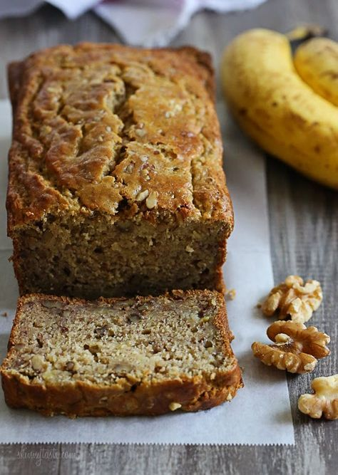This banana bread is moist and delicious, you can't tell it's light or gluten-free! | Skinny Taste