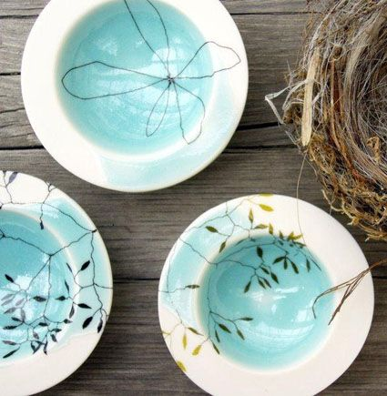 porcelain bowls with screen printed ceramic decals.