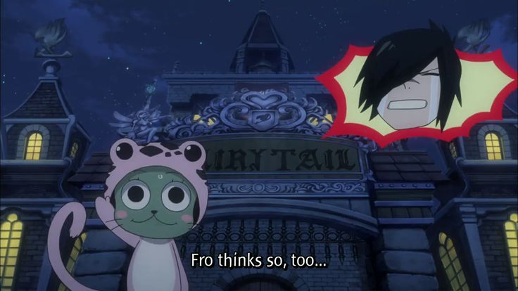 This episode is so cute. So fro gets lost and rouge ,sting, ect. Found him and they watched to see if fro made it to the guild on the way fro ran in to gray and juvia then they talked fro cried and went back to walking he walked and walked and made it to a guild but he made it to fairy tail instead of saber tooth