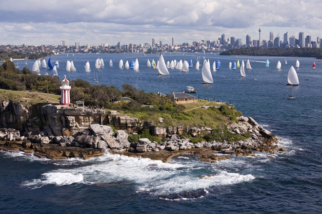 The beginning of the Sydney to Hobart yacht race in Sydney Harbour. Starts Boxing Day each year finishes New Year - with a celebration on the docks in Hobart..