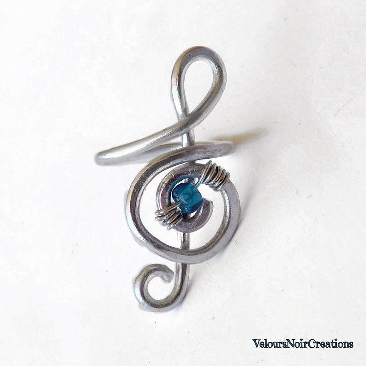 Anello chiave di violino creato a mano in metallo, wire ring treble clef ,by Velours Noir Crèations, 15,00 € su misshobby.com