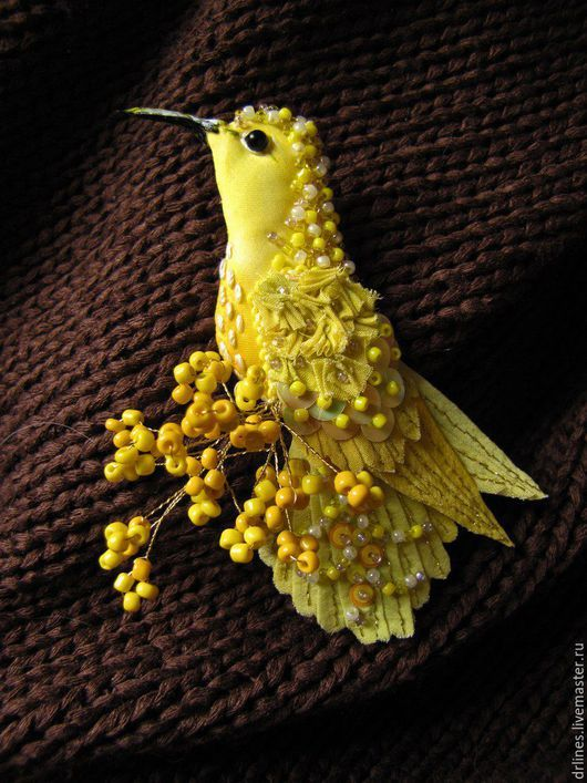 """Броши ручной работы. Ярмарка Мастеров - ручная работа. Купить Брошь"""" Колибри-солнечная"""". Handmade. Желтый, птица, птицы"""