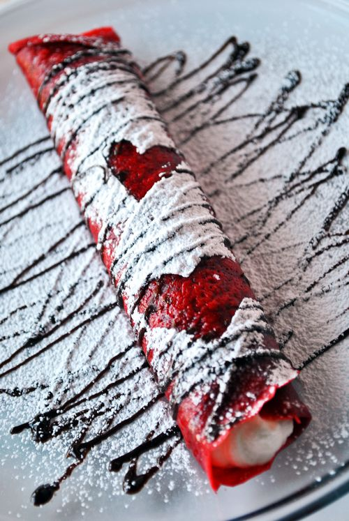 Fab valentines day breakfast ..red velvet crepes.