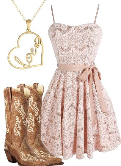 Gostei do vestido, nem tanto das botas Country Girl Dress & Boots For more Cute n' Country visit: www.cutencountry.com