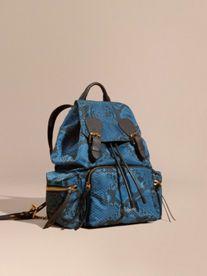 The Medium Rucksack in Python Print Nylon and Leather