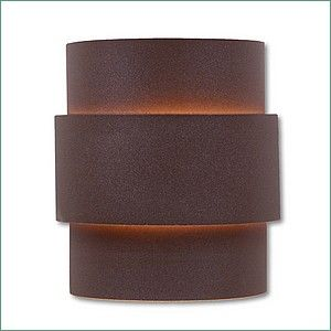 Southwestern Northridge Outdoor Wall Light Large - Plain - Rustic Brown - Frosted Glass