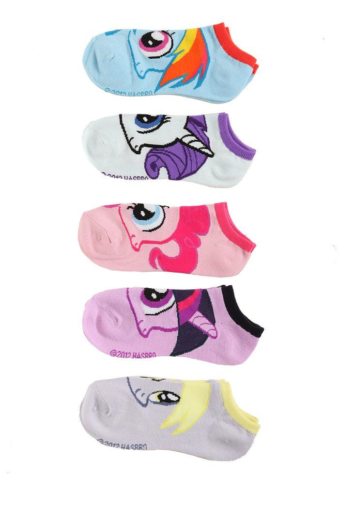 My Little Pony No-Show Socks(5 pair) from Hot Topic.--I'm generally immune to HotTopic now days, but I saw thesee and got all excited. I can't help but notice that there are 5 pair and yet they don't include all of the Mane 6 and prop Derpy in there instead. What's up with that?