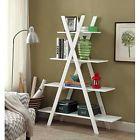 "Bookcase Bookshelf Leaning ""A"" Frame Ladder Shelf 4 Tier White Finish Storage"