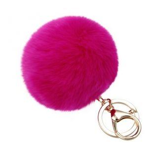 Pom-pom pink szőrme kulcstartó és táskadísz