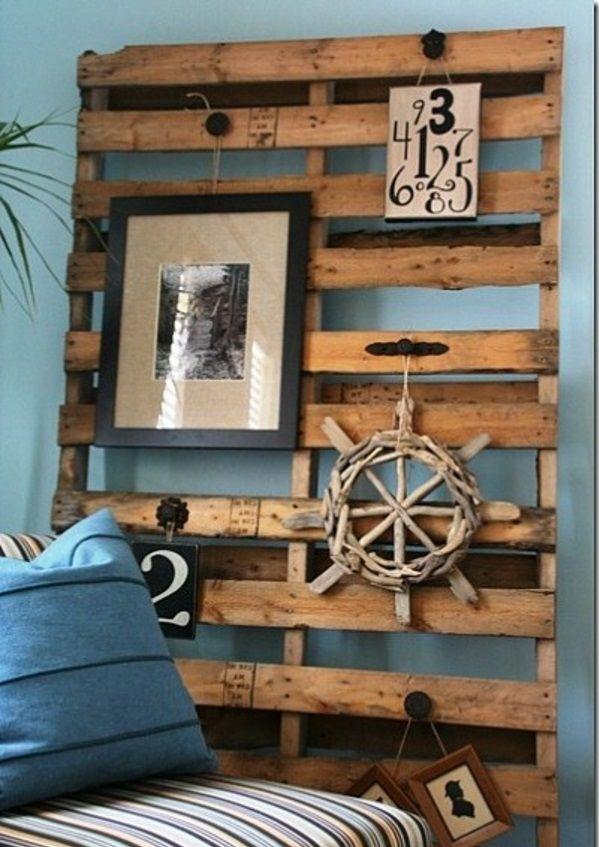 paletten möbel selbst basteln DIY ideen  wandgestaltung