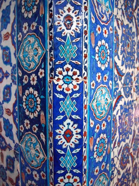 The interior of the Rüstem Pasha Mosque is covered with incredibly vibrant blue Iznik tiles.