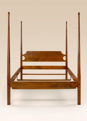 Queen-Shaker-Bed-Cherry-Wood-Furniture-Pencil-Post-American-Made-Handcrafted-New