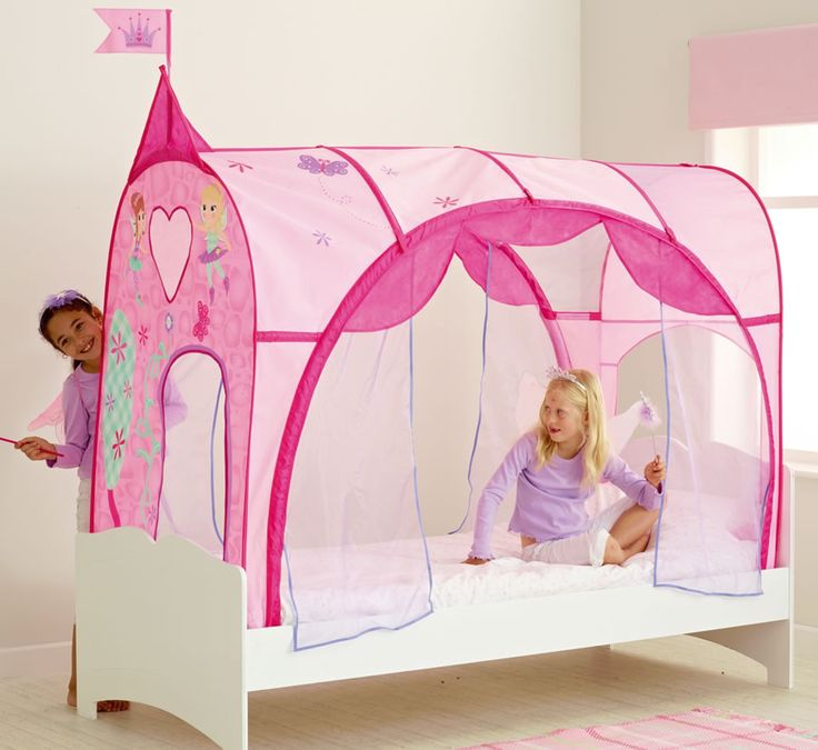girls bed tent | Girls pink Princess bed canopy. Pink and lilac patterned with . & 19 best Princess Castle Play Tent images on Pinterest | Princess ...