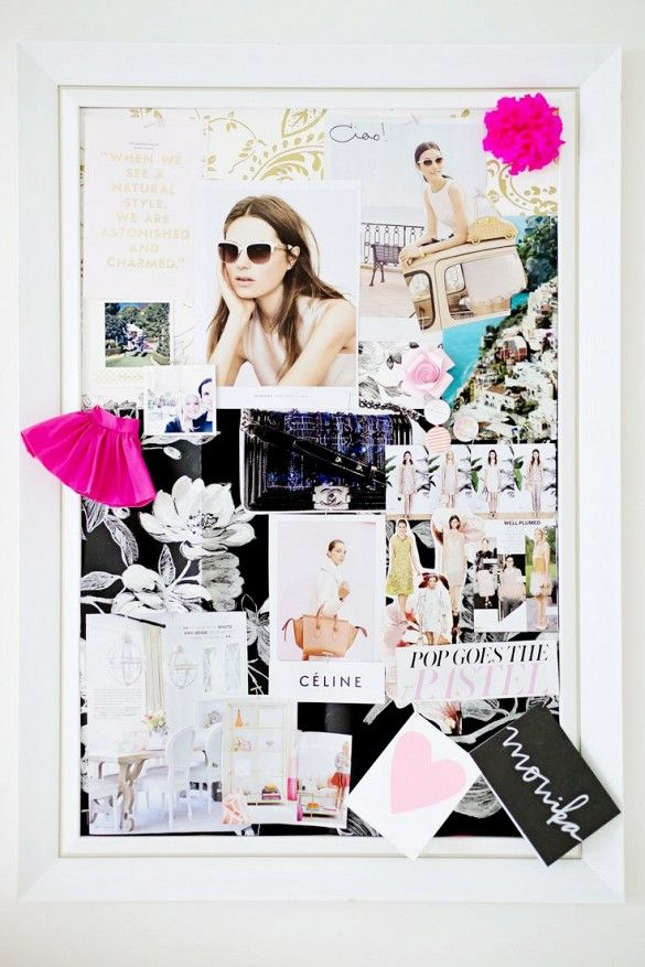 Bulletin board in office with fashion-forward collage