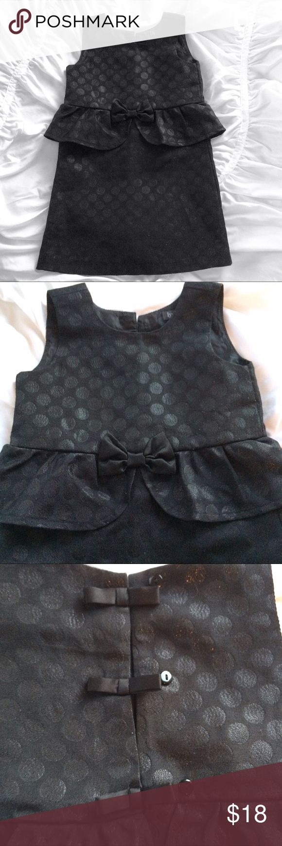 Lydia Jane polka dot party dress with bows 4t Adorable party dress! Lots of bows! Button down back wth bows over top. Bow on front of dress. Black with shimmery polka dots. lydia jane Dresses Formal