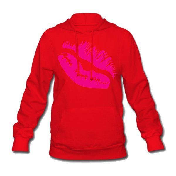 Kiss Women's Hooded Sweatshirt Red Women's Hooded Sweatshirt  ... ($41) ❤ liked on Polyvore featuring tops, hoodies, hoodie top, cotton hoodie, sweater pullover, red pullover hoodie and cotton hoodies