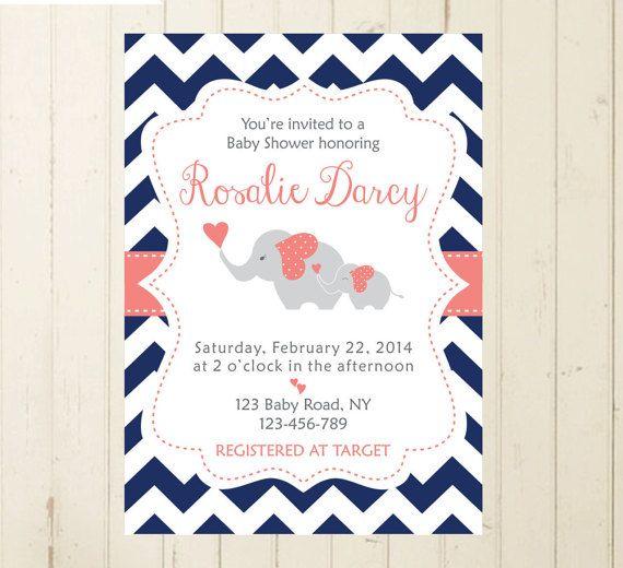 baby shower elephant invitation elephant navy by RebeccaDesigns22