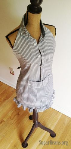 Convert a men's shirt into an apron-just made this and it came out great.....