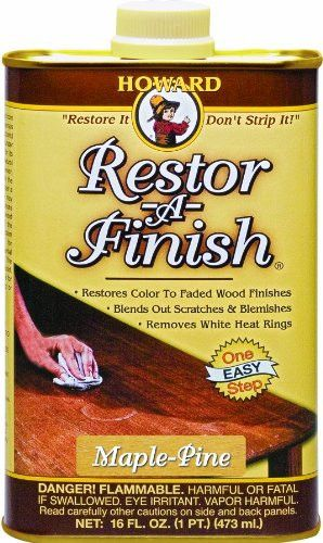 Howard Restor-A-Finish. I've tried this on my kitchen cabinets and it works very well.