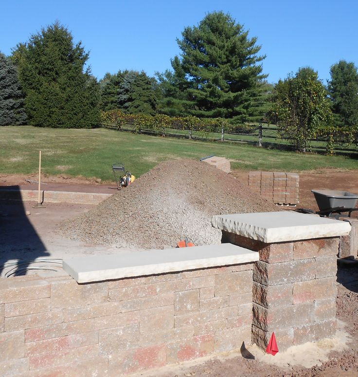 Work In Progress, Patio Hardscaping, Pillars And Entry To Patio By Premier