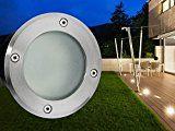 LED-Boden Einbau-Strahler, Einbau-Leuchte MARNE rund in Edelstahl gebürstet, mit Echt-Glas matt, 5W warm-weiß, GU10 230V [TOP VORTEILE: hervorragende LICHTQUALITÄT, hoch BELASTBAR, schneller EINBAU]