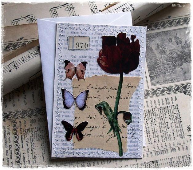 Grußkarte  - Blumencollage