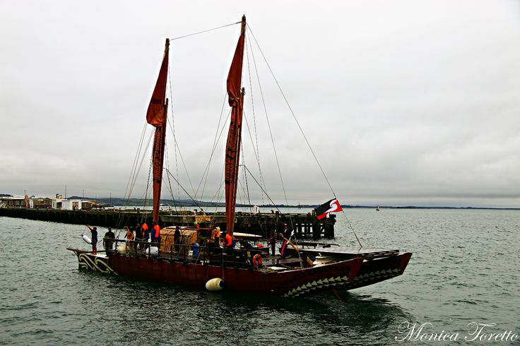 The Haunui Waka arrives in Bluff. April 2014.