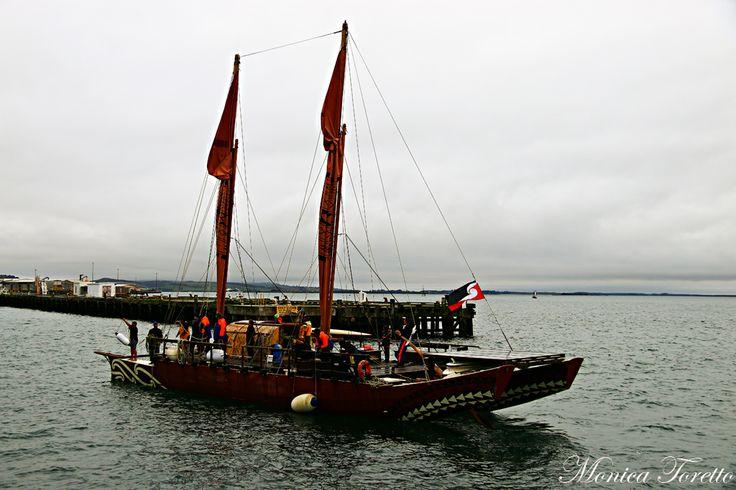 The Haunui Waka arrives in Bluff. April 2014.