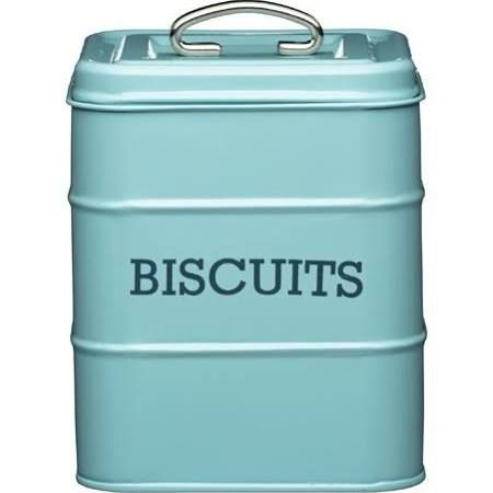 Living Nostalgia Biscuit Storage Tin Blue 14.5 x 19cm