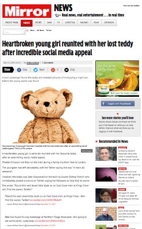 Mirror  http://www.mirror.co.uk/news/uk-news/lost-teddy-bear-reunited-young-2931650#.UuP-6PaIZFR